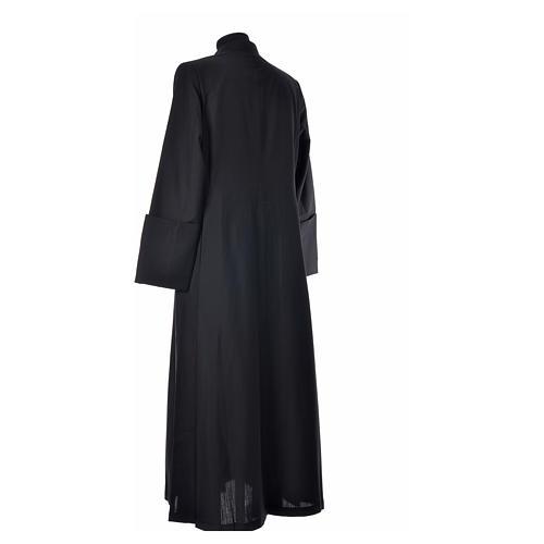 Abito talare in lana nera con bottoni ricoperti 8