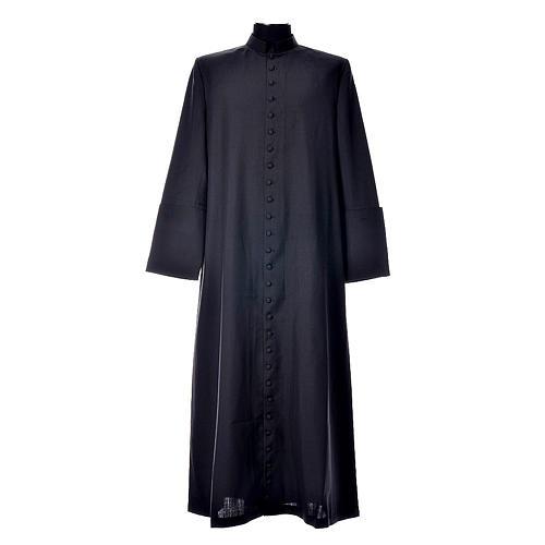 Abito talare in lana nera con bottoni ricoperti 1