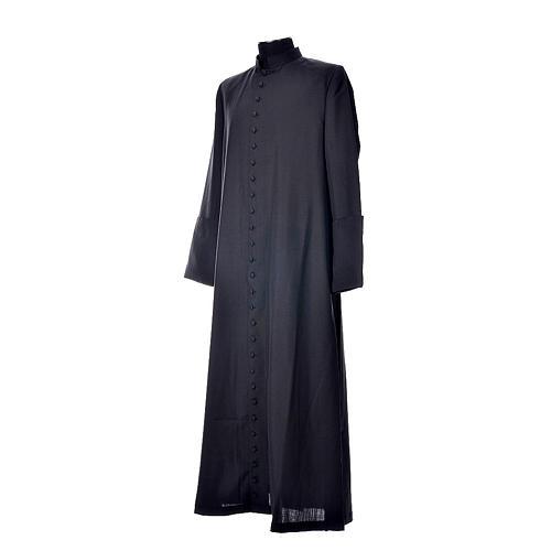 Abito talare in lana nera con bottoni ricoperti 2