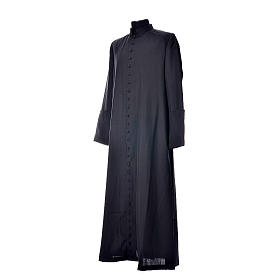 Black cassock in pure wool with covered buttons s2