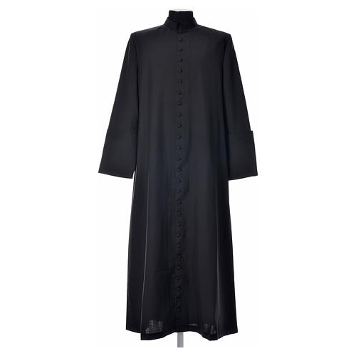 Black cassock in pure wool with covered buttons 6
