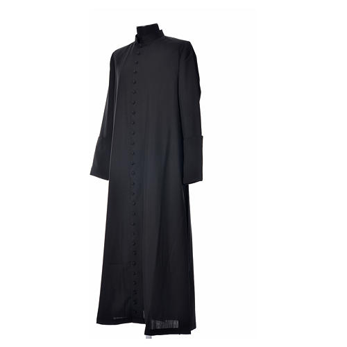 Black cassock in pure wool with covered buttons 7