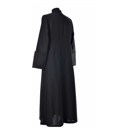 Black cassock in pure wool with covered buttons 8