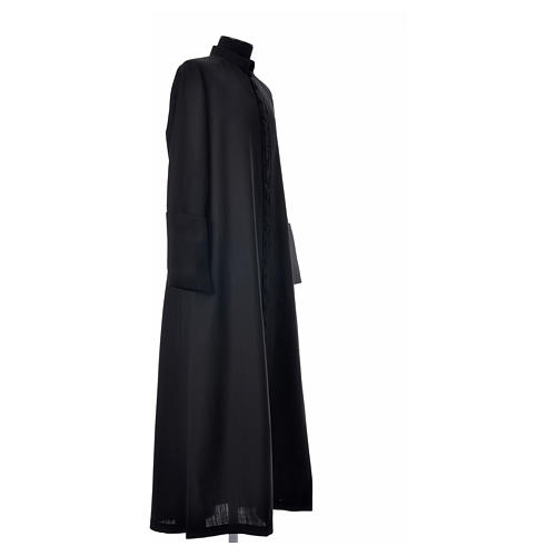 Black cassock in pure wool with covered buttons 9