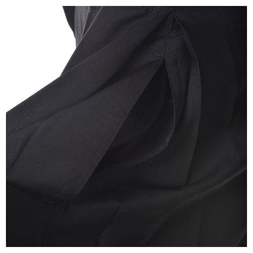 Black cassock in pure wool with covered buttons 10