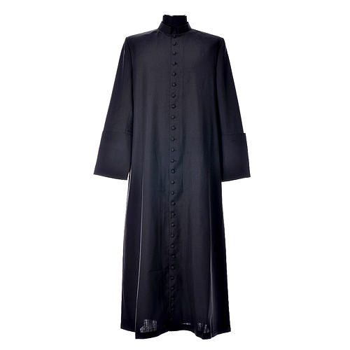 Black cassock in pure wool with covered buttons 1