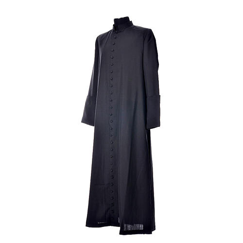 Black cassock in pure wool with covered buttons 2