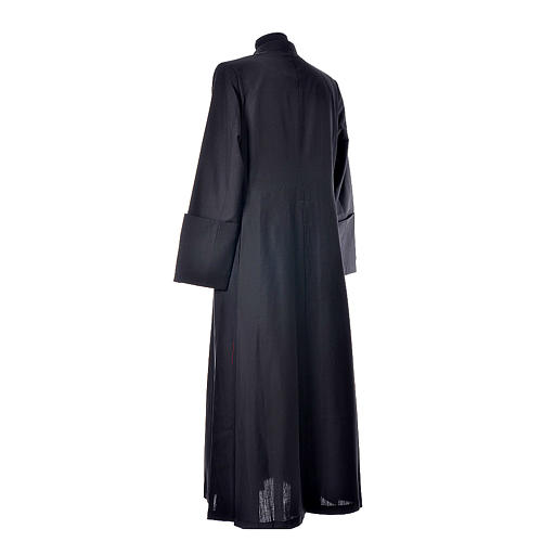Black cassock in pure wool with covered buttons 3