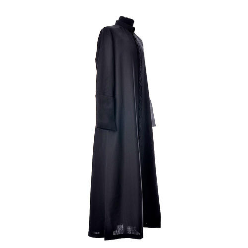 Black cassock in pure wool with covered buttons 4
