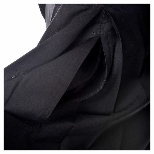 Black cassock in pure wool with covered buttons 5