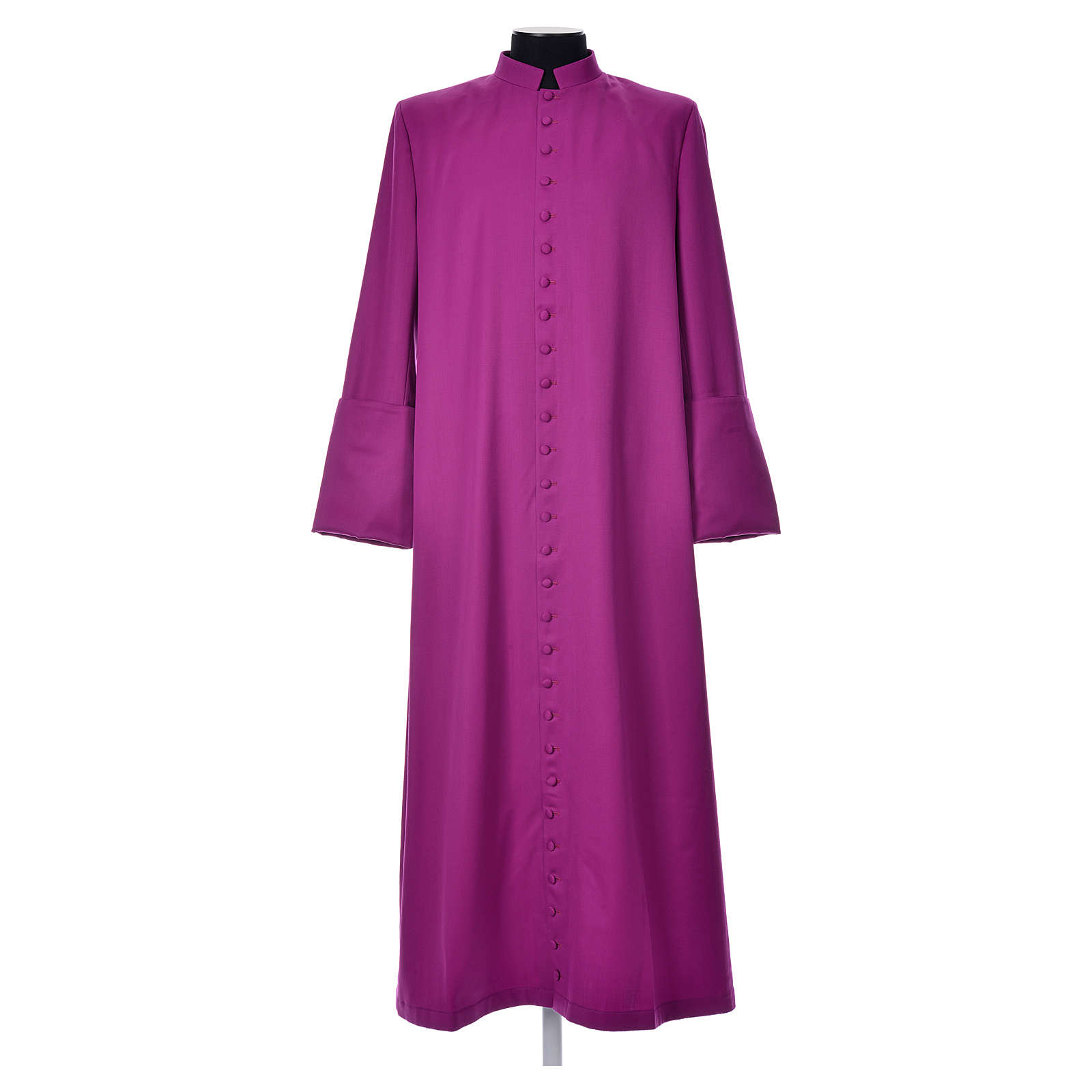 Purple cassock in pure wool with covered buttons 4