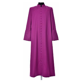 Purple cassock in pure wool with covered buttons s1