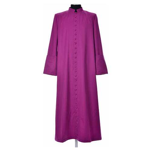Purple cassock in pure wool with covered buttons 1