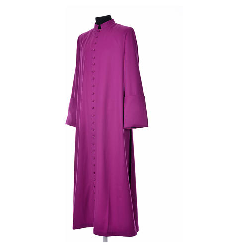 Purple cassock in pure wool with covered buttons 2