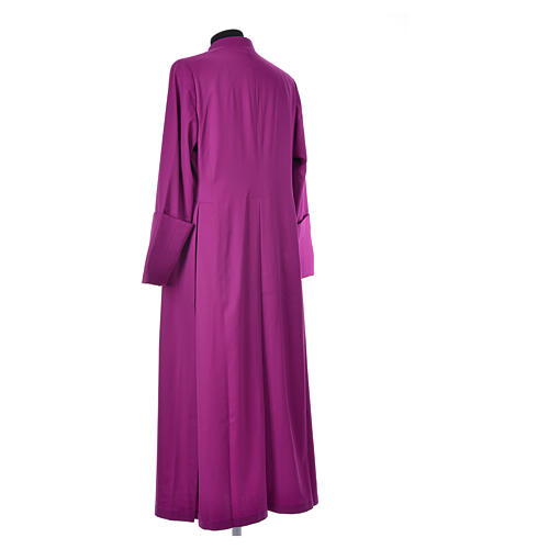Purple cassock in pure wool with covered buttons 3
