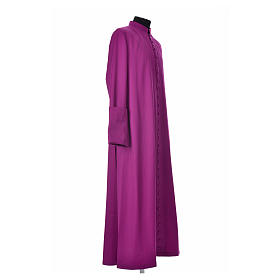 Purple cassock in pure wool with covered buttons s4