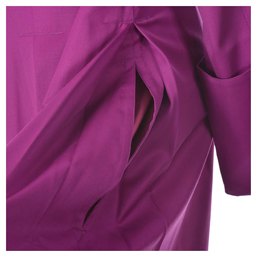 Purple cassock in pure wool with covered buttons 5