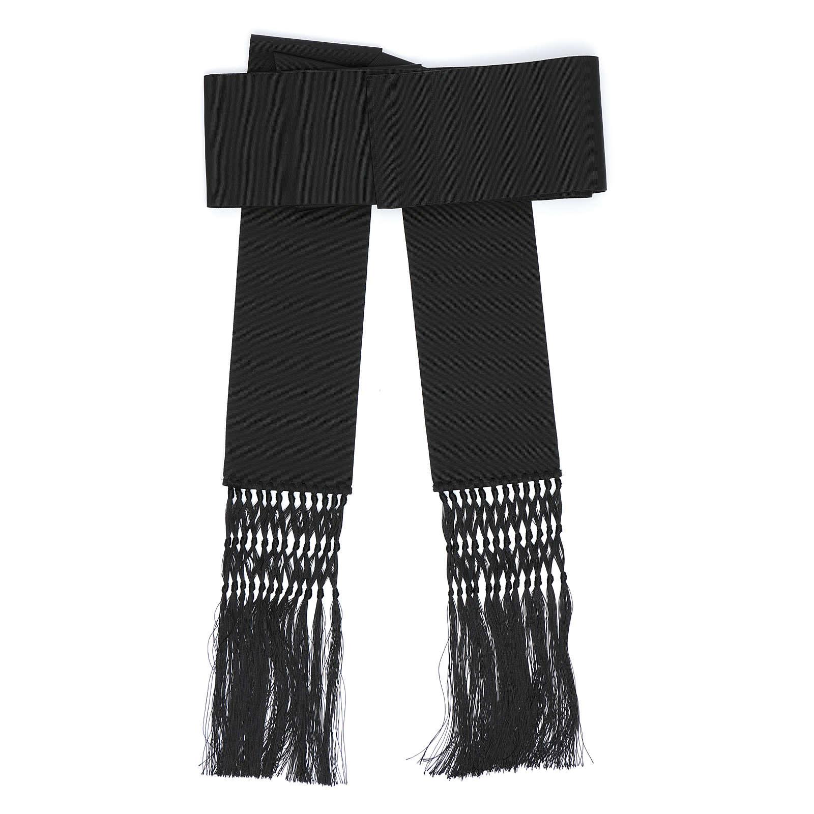 Fajín o banda para sotanas de viscosa color negro 4