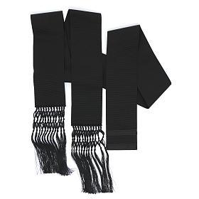 Fajín o banda para sotanas de viscosa color negro s2