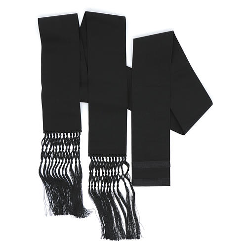 Fajín o banda para sotanas de viscosa color negro 2