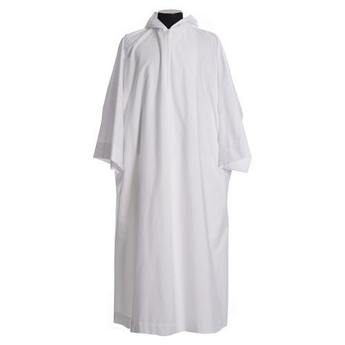 Alba con capucha amplia algodón mixto poliéster 1