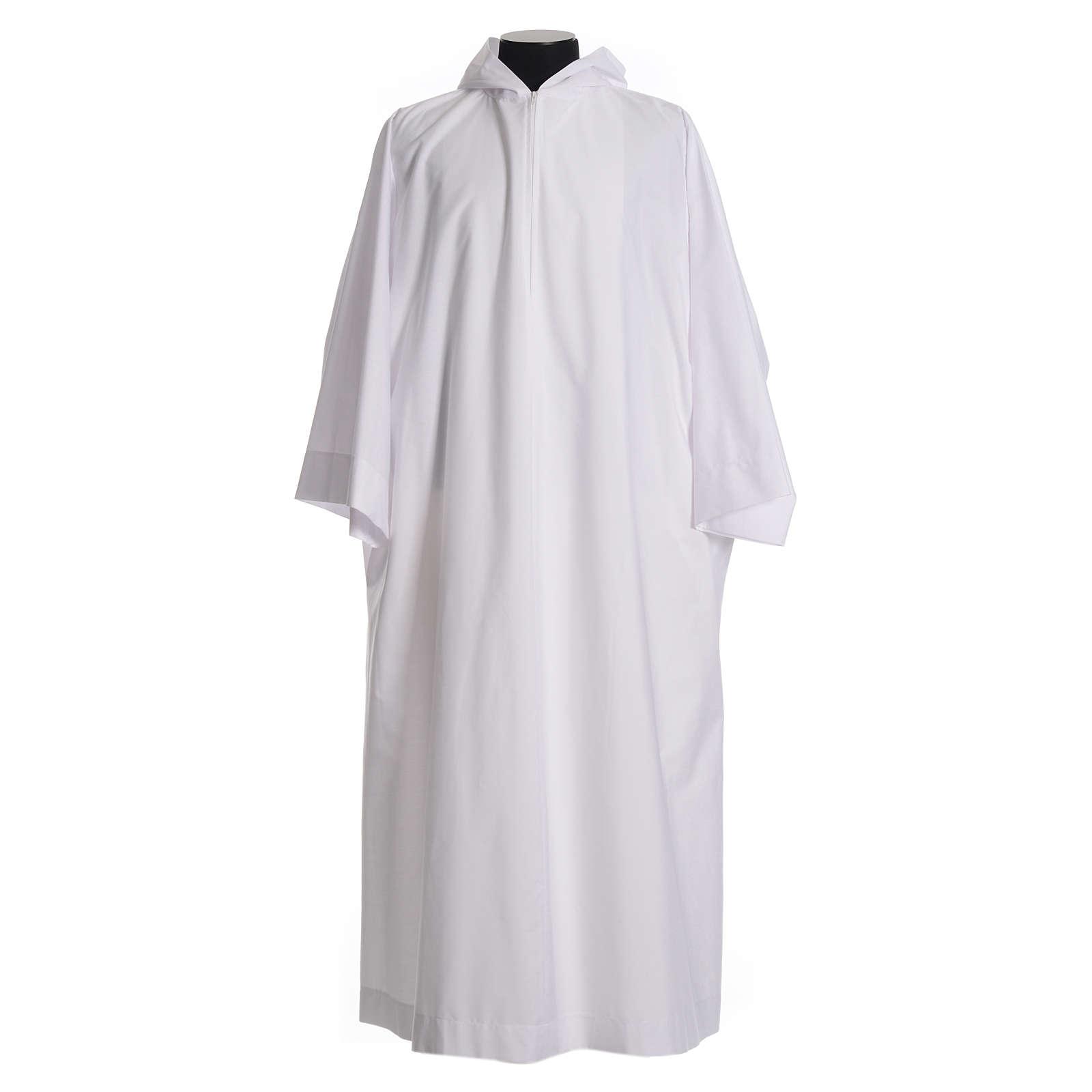 Aube liturgique avec capuchon en coton et polyester 4