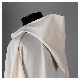 Surplice in wool and polyester with hood white colour s4