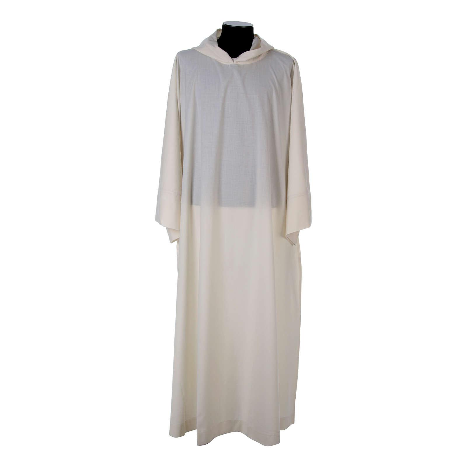 Alba lana poliéster capucha blanca 4