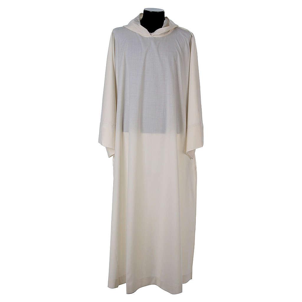 Aube laine polyester blanc capuche 4