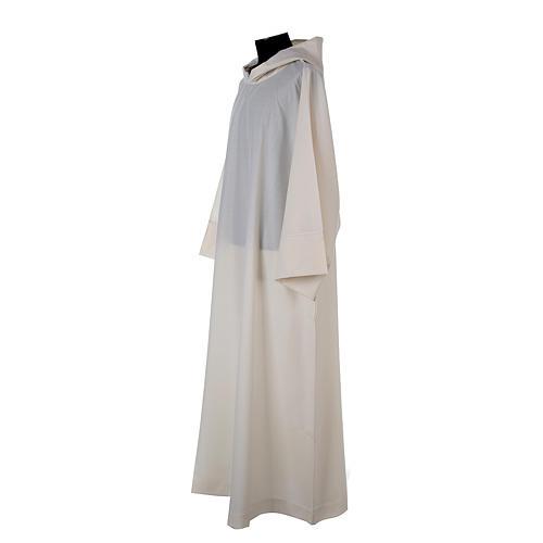Aube laine polyester blanc capuche 2