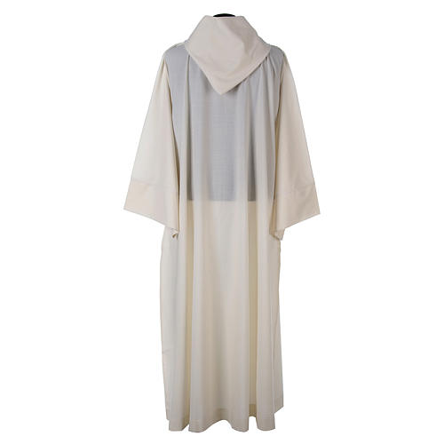 Aube laine polyester blanc capuche 3