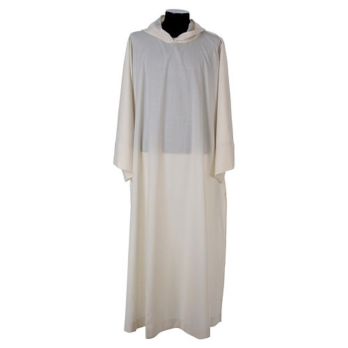 Surplice in wool and polyester with hood white colour 1