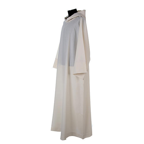 Surplice in wool and polyester with hood white colour 2