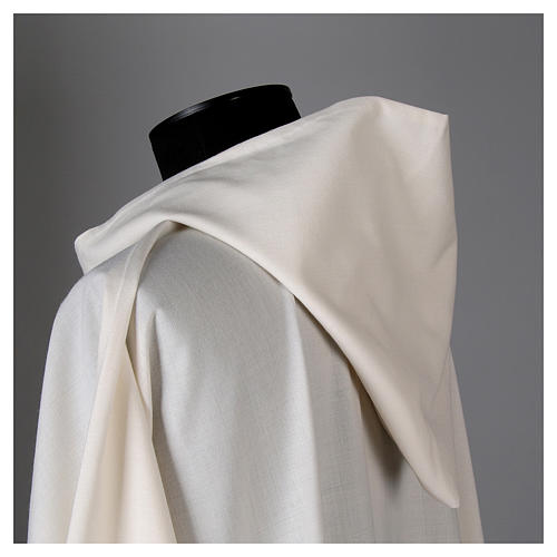Surplice in wool and polyester with hood white colour 4