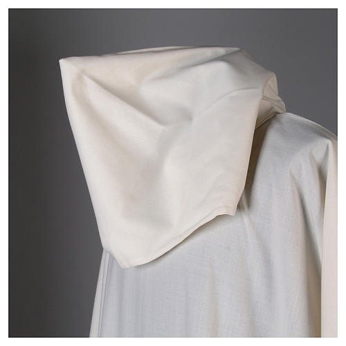 Surplice in wool and polyester with hood white colour 6