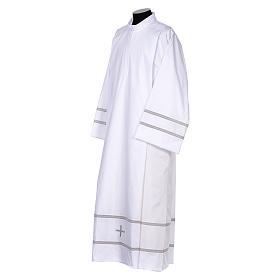 White liturgical alb with cross and gigliuccio hemstitch s2
