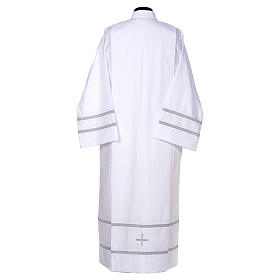 White liturgical alb with cross and gigliuccio hemstitch s3