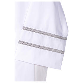 White liturgical alb with cross and gigliuccio hemstitch s4