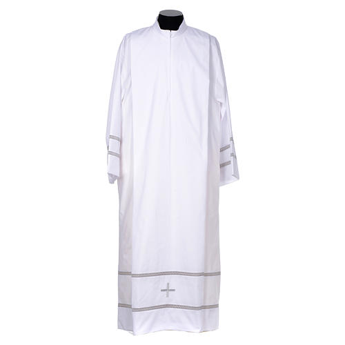 White liturgical alb with cross and gigliuccio hemstitch 1