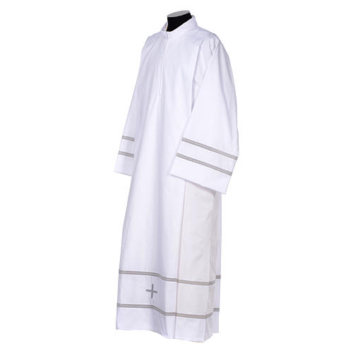 White liturgical alb with cross and gigliuccio hemstitch 2