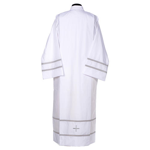 White liturgical alb with cross and gigliuccio hemstitch 3