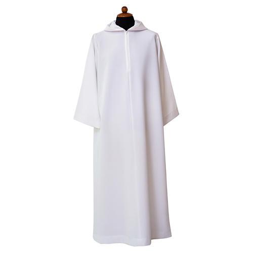 Alba blanca abocinada amplia capucha mixto algodón 1