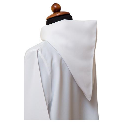 Alba blanca abocinada amplia capucha mixto algodón 2