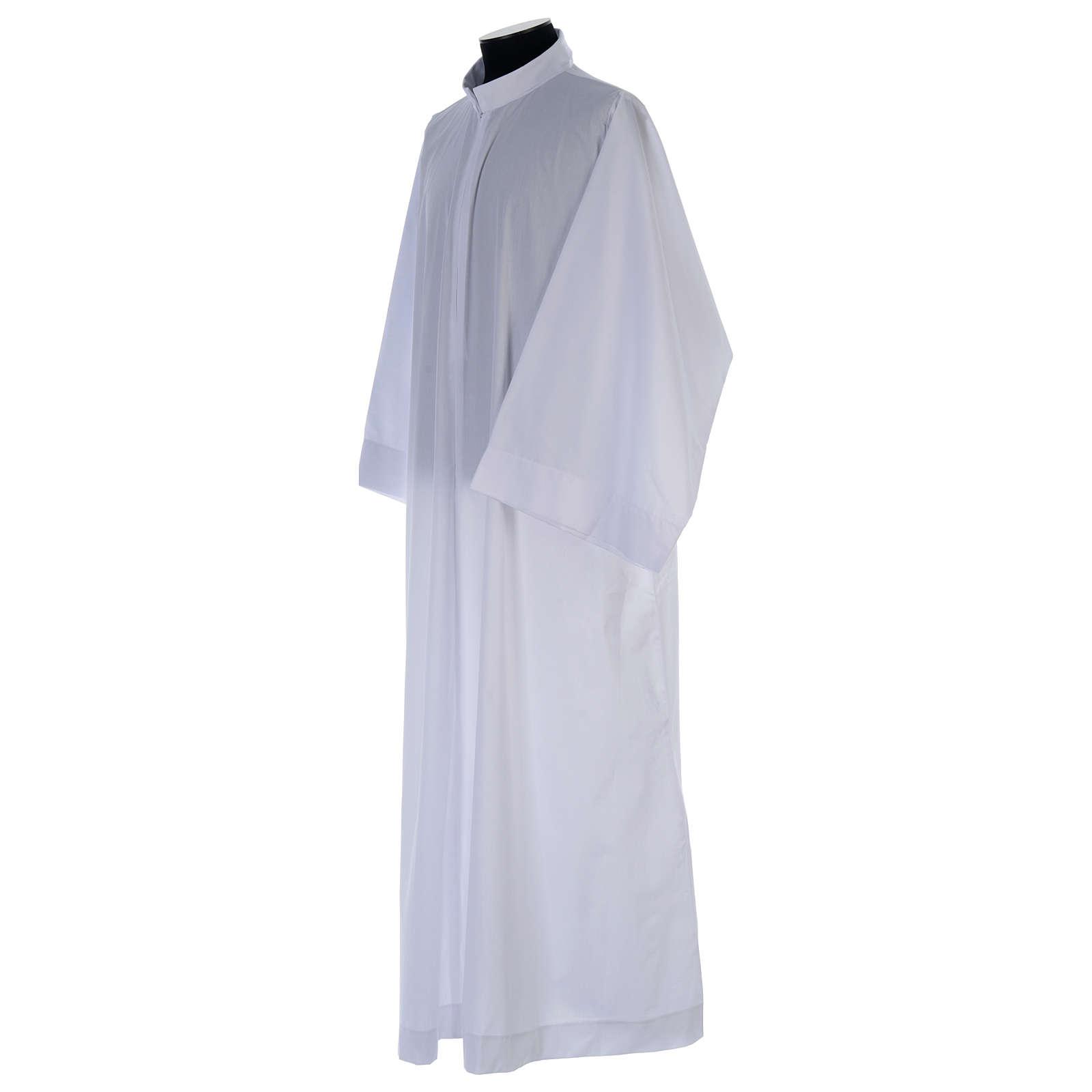 Alba blanca abocinada con cuello solapa algodón mixto 4