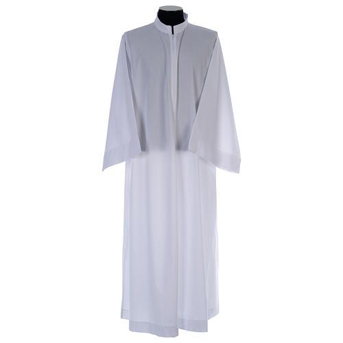 Alba blanca abocinada con cuello solapa algodón mixto 1