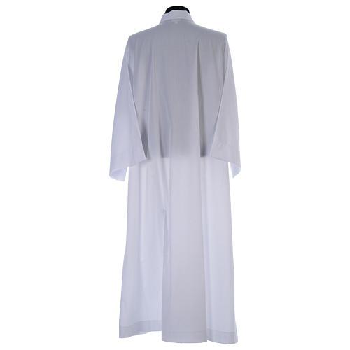 Alba blanca abocinada con cuello solapa algodón mixto 3
