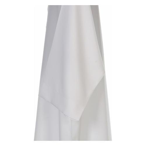 Alba blanca abocinada con cuello solapa 100% poliéster 4