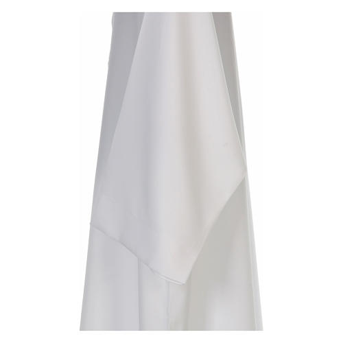 Aube blanche évasée avec col roulé 100% polyester 4
