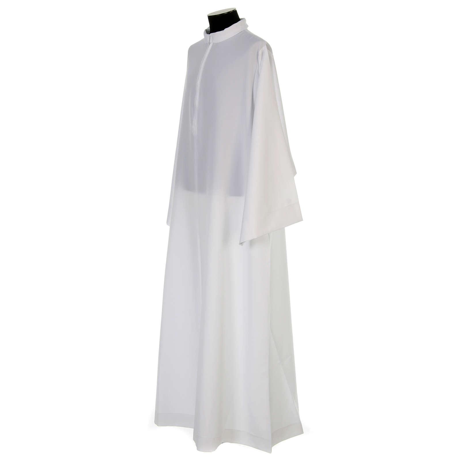 Camice bianco svasato con collettino risvoltato 100% poliestere 4