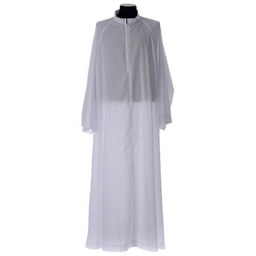 Holy Communion alb, flared with raglan sleeve in cotton mix 1